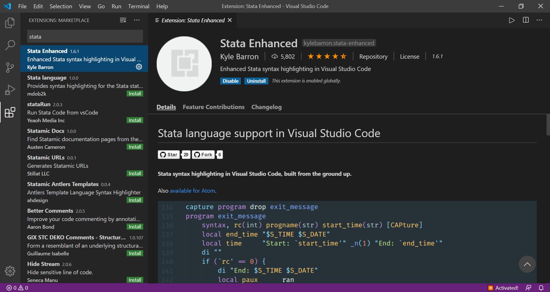 VScode 中的 Stata Enhanced 插件