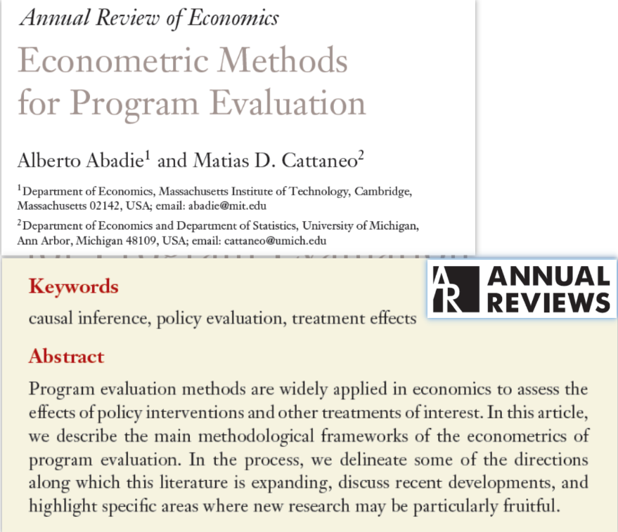 Abadie, A., M. D. Cattaneo, 2018, Econometric methods for program evaluation, Annual Review of Economics, 10 (1): 465-503.