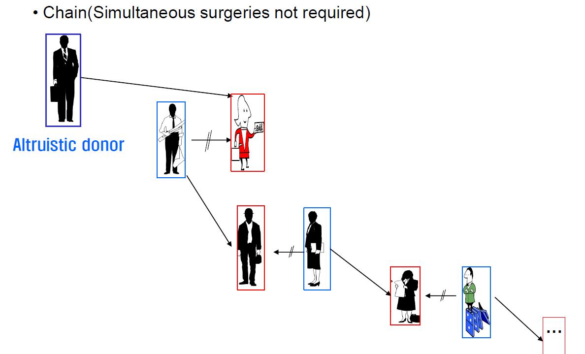 图 4:肾脏交换的链式结构